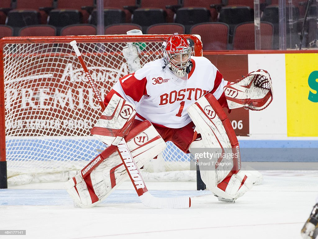 Anthony Moccia #1 of the Boston University Terriers warms-up before NCAA hockey action against the Dartmouth College Big Green at Agganis Arena on January 8, 2014 in Boston, Massachusetts.