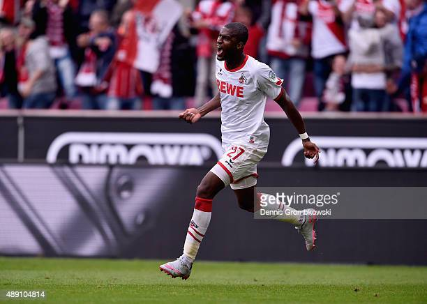 Anthony Modeste of 1 FC Koeln celebrates as he scores the opening goal during the Bundesliga match between 1 FC Koeln and Borussia Moenchengladbach...