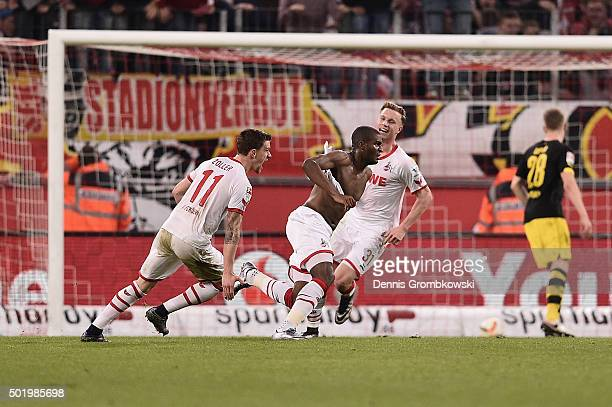 Anthony Modeste of 1 FC Koeln celebrates as he scores the second goal during the Bundesliga match between 1 FC Koeln and Borussia Dortmund at...