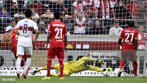 Anthony Modeste of 1FC Koeln scores his teams first goal during the Bundesliga match between VfB Stuttgart and 1 FC Koeln at MercedesBenz Arena on...