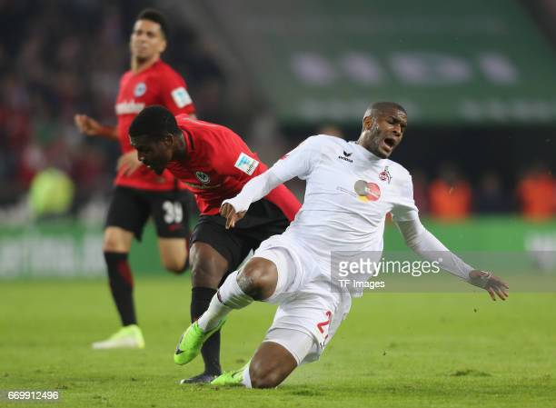 Anthony Modeste of Cologne and Andersson Ordonez of Eintracht Frankfurt battle for the ball during the German Bundesliga soccer match between 1 FC...