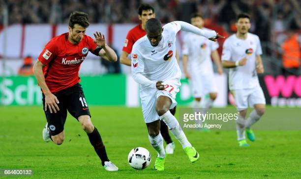 Anthony Modeste of Cologne in action against David Angel Abraham of Frankfurt during the German Bundesliga soccer match between 1 FC Cologne and...