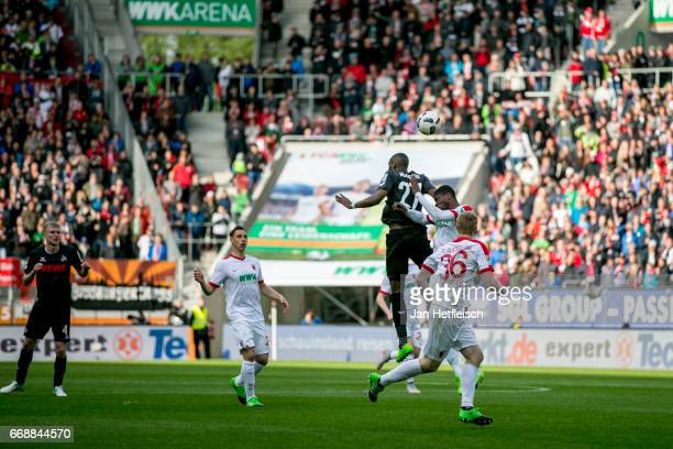Anthony Modeste of Cologne in action during the Bundesliga match between FC Augsburg and 1 FC Koeln at WWK Arena on April 15 2017 in Augsburg Germany