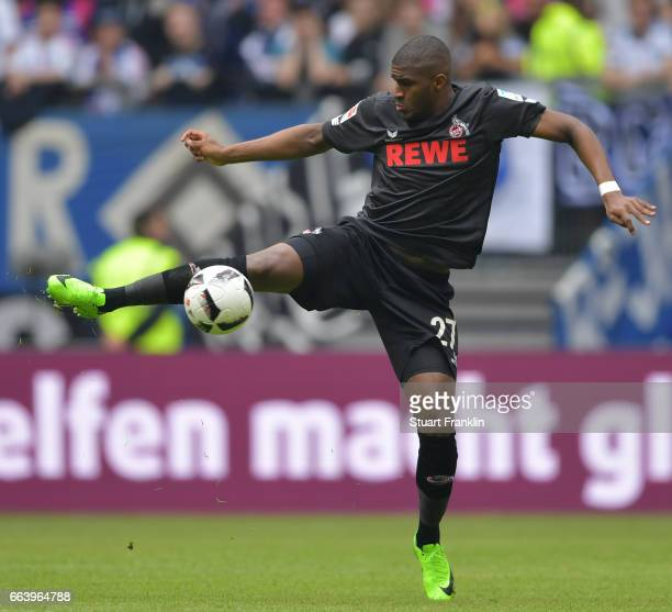 Anthony Modeste of Cologne in action during the Bundesliga match between Hamburger SV and 1 FC Koeln at Volksparkstadion on April 1 2017 in Hamburg...
