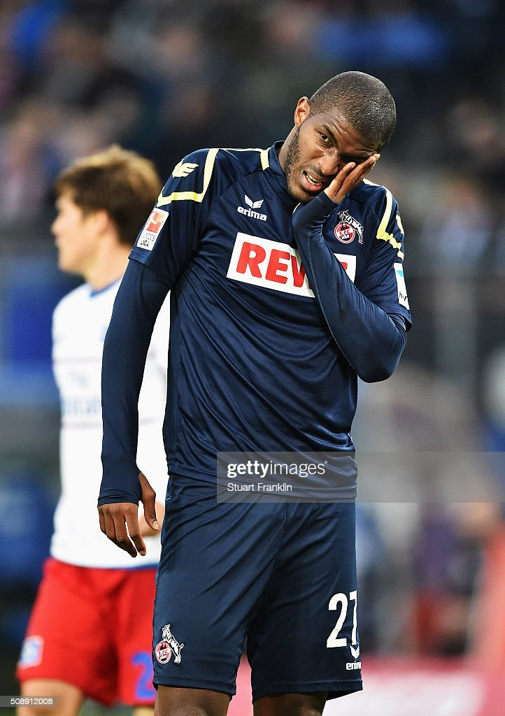 Anthony Modeste of Cologne looks pained during the Bundesliga match between Hamburger SV and 1. FC Koeln at Volksparkstadion on February 7, 2016 in Hamburg, Germany.