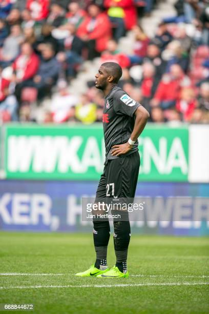 Anthony Modeste of Cologne reacts during the Bundesliga match between FC Augsburg and 1 FC Koeln at WWK Arena on April 15 2017 in Augsburg Germany