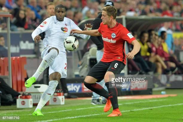 Anthony Modeste of Colonge and Bastian Oczipka of Frankfurt battle for the ball during the Bundesliga match between 1 FC Koeln and Eintracht...