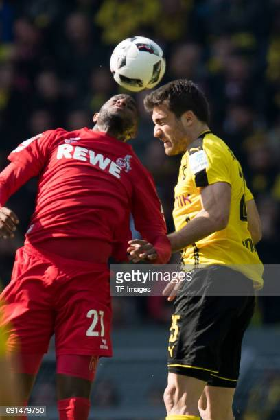 Anthony Modeste of Colonge and Sokratis of Dortmund battle for the ball during the Bundesliga match between Borussia Dortmund and FC Koeln at Signal...