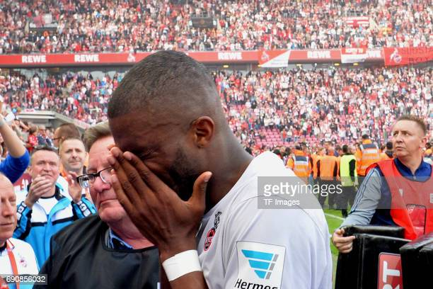 Anthony Modeste of Colonge celebrate the win after the Bundesliga Match between 1FC Koeln and1 FSV Mainz 05 at RheinEnergieStadion on May 20 2017 in...