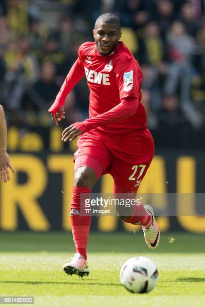 Anthony Modeste of Colonge controls the ball during the Bundesliga match between Borussia Dortmund and FC Koeln at Signal Iduna Park on April 29 2017...