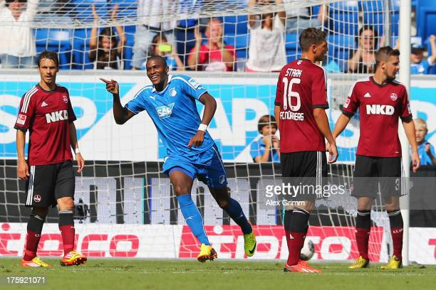 Anthony Modeste of Hoffenheim celebrates his team's first goal during the Bundesliga match between 1899 Hoffenheim and 1 FC Nuernberg on August 10...