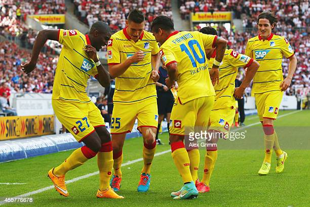 Anthony Modeste of Hoffenheim celebrates his team's first goal with team mates during the Bundesliga match between VfB Stuttgart and 1899 Hoffenheim...