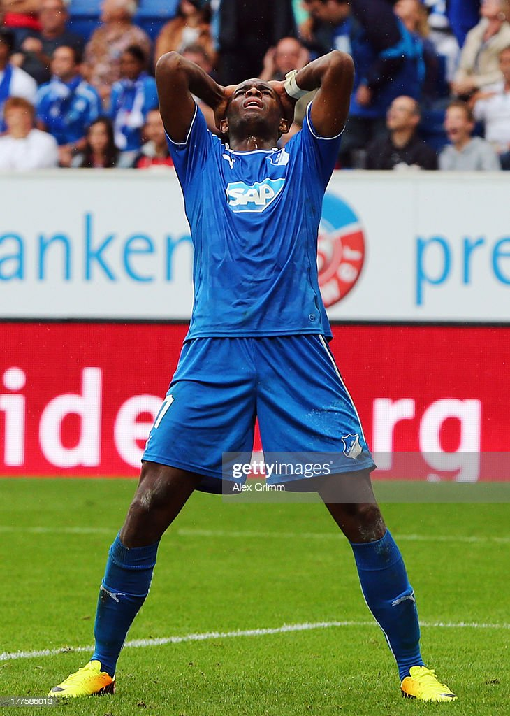 Anthony Modeste of Hoffenheim reacts after hitting the goal post in the injury time during the Bundesliga match between 1899 Hoffenheim and SC Freiburg at Wirsol Rhein-Neckar-Arena on August 24, 2013 in Sinsheim, Germany.