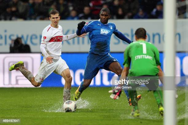 Anthony Modeste of Hoffenheim tries to score against goalkeeper Sven Ulreich and Daniel Schwaab of Stuttgart during the Bundesliga match between 1899...