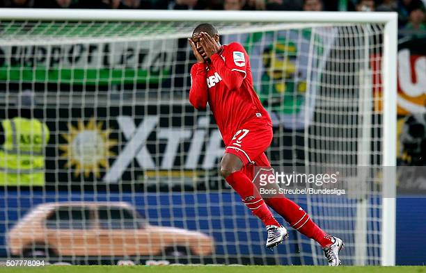 Anthony Modeste of Koeln celebrates after scoring his team's first goal during the Bundesliga match between VfL Wolfsburg and 1 FC Koeln at...