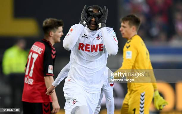 Anthony Modeste of Koeln celebrates after scoring his teams first goal during the Bundesliga match between SC Freiburg and 1 FC Koeln at...