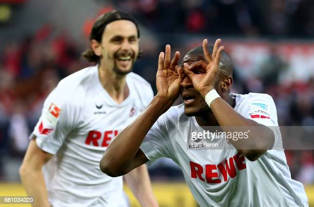 Anthony Modeste of Koeln celebrates after scoring his teams first goal during the Bundesliga match between 1 FC Koeln and Werder Bremen at...