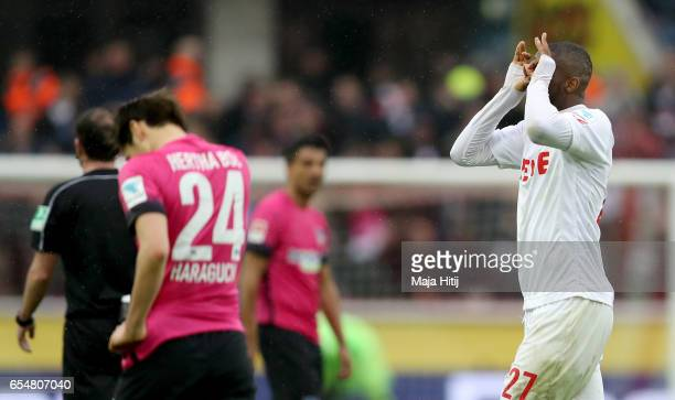 Anthony Modeste of Koeln celebrates after scoring his teams fourth goal during the Bundesliga match between 1 FC Koeln and Hertha BSC at...
