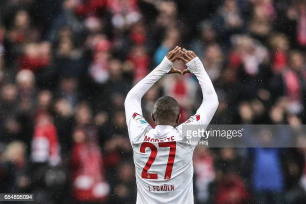 Anthony Modeste of Koeln celebrates after scoring his team's fourth goal to make it 41 during the Bundesliga match between 1 FC Koeln and Hertha BSC...