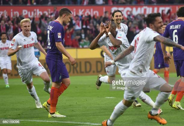 Anthony Modeste of Koeln celebrates after scoring his team`s goal during to the Bundesliga match between 1 FC Koeln and Werder Bremen at...