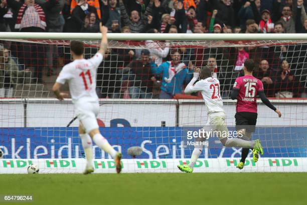 Anthony Modeste of Koeln celebrates after scoring his team's third goal to make it 30 during the Bundesliga match between 1 FC Koeln and Hertha BSC...