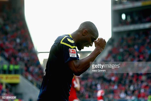 Anthony Modeste of Koeln celebrates after the Bundesliga match between 1 FSV Mainz 05 and 1 FC Koeln at Coface Arena on April 17 2016 in Mainz Germany