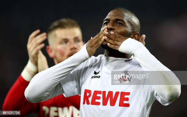 Anthony Modeste of Koeln celebrates after winning the Bundesliga match between 1 FC Koeln and Werder Bremen at RheinEnergieStadion on May 5 2017 in...