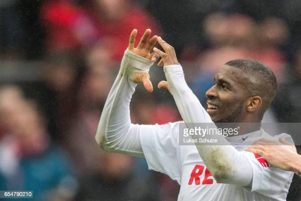 Anthony Modeste of Koeln celebrates his teams second goal during the Bundesliga match between 1 FC Koeln and Hertha BSC at RheinEnergieStadion on...