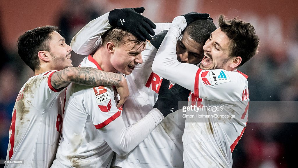 Anthony Modeste of Koeln celebrates his team's third goal with his team mates Filip Mladenovic (R), <a gi-track='captionPersonalityLinkClicked' href=/galleries/search?phrase=Leonardo+Bittencourt&family=editorial&specificpeople=6735512 ng-click='$event.stopPropagation()'>Leonardo Bittencourt</a> (L) and Yannick Gerhardt (2L) during the Bundesliga match between 1. FC Koeln and Eintracht Frankfurt at RheinEnergieStadion on February 13, 2016 in Cologne, Germany.