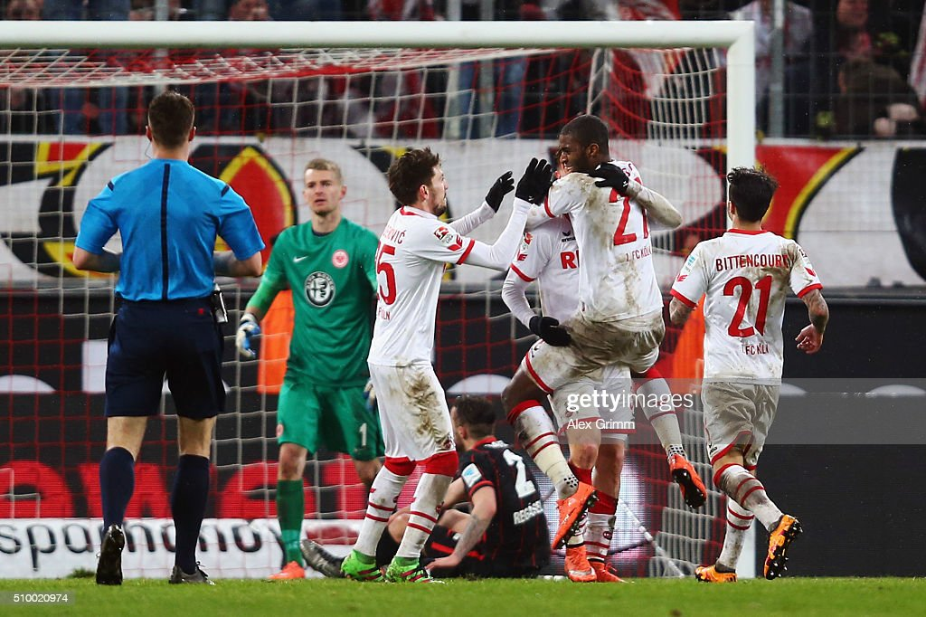 Anthony Modeste #27 of Koeln celebrates his team's third goal with team mates during the Bundesliga match between 1. FC Koeln and Eintracht Frankfurt at RheinEnergieStadion on February 13, 2016 in Cologne, Germany.