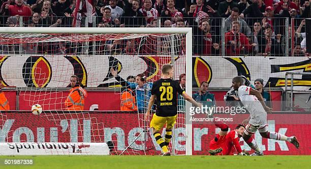 Anthony Modeste of Koeln celebrates scoring the winning goal during the Bundesliga match between 1 FC Koeln and Borussia Dortmund at...
