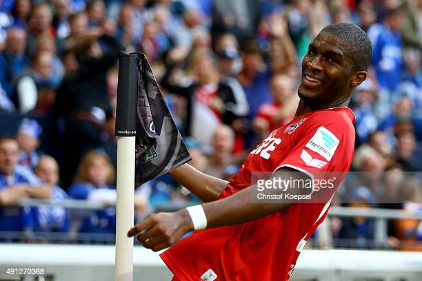Anthony Modeste of Koeln celebrates the first goal during the Bundesliga match between FC Schalke 04 and 1 FC Koeln at VeltinsArena on October 4 2015...