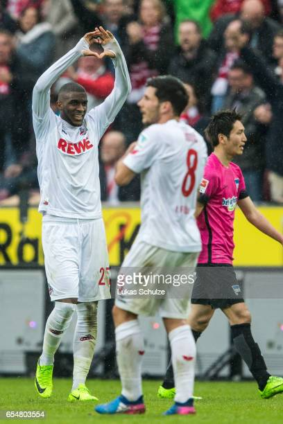 Anthony Modeste of Koeln celebrates the teams fourth goal during the Bundesliga match between 1 FC Koeln and Hertha BSC at RheinEnergieStadion on...