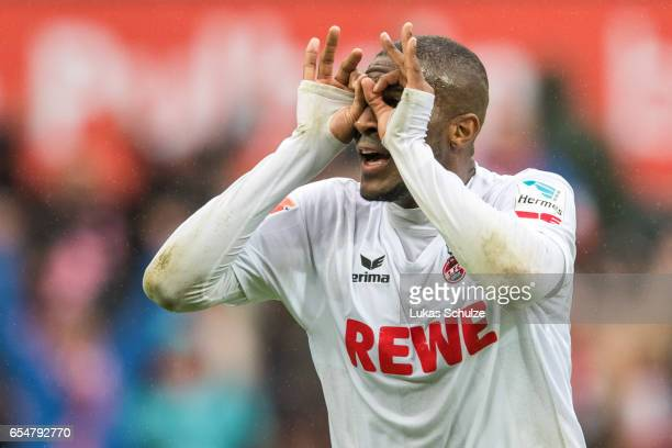 Anthony Modeste of Koeln celebrates the teams third goal during the Bundesliga match between 1 FC Koeln and Hertha BSC at RheinEnergieStadion on...