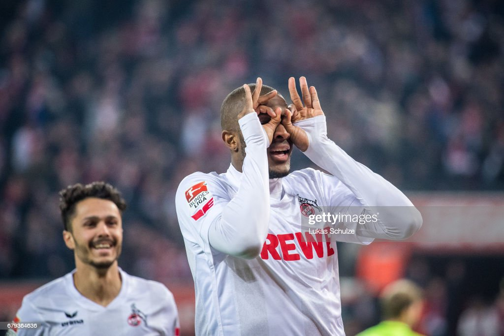 Anthony Modeste (R) of Koeln celebrates with Leonardo Bittencourt (L) after scoring his teams fourth goal during the Bundesliga match between 1. FC Koeln and Werder Bremen at RheinEnergieStadion on May 5, 2017 in Cologne, Germany.