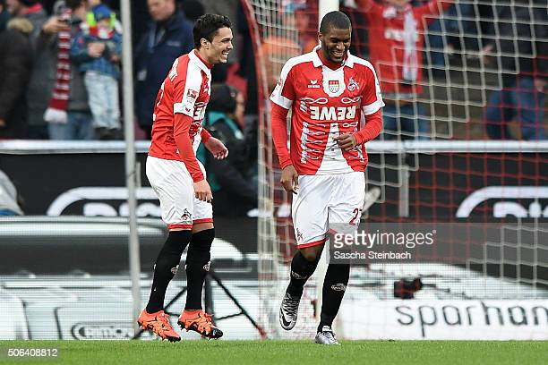 Anthony Modeste of Koeln celebrates with team mate Leonardo Bittencourt after scoring the opening goal by a penalty during the Bundesliga match...