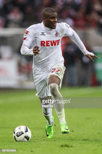 Anthony Modeste of Koeln controls the ball during the Bundesliga match between 1 FC Koeln and Hertha BSC at RheinEnergieStadion on March 18 2017 in...