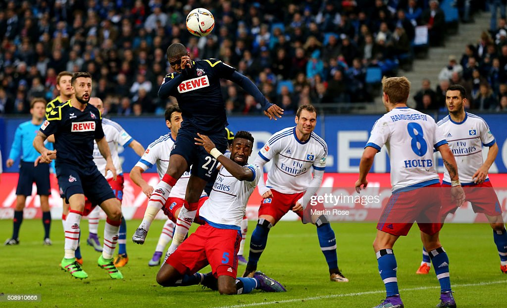 Anthony Modeste of Koeln heads at goal during the Bundesliga match between Hamburger SV and 1. FC Koeln at Volksparkstadion on February 7, 2016 in Hamburg, Germany.