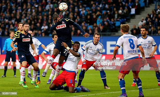 Anthony Modeste of Koeln heads at goal during the Bundesliga match between Hamburger SV and 1 FC Koeln at Volksparkstadion on February 7 2016 in...