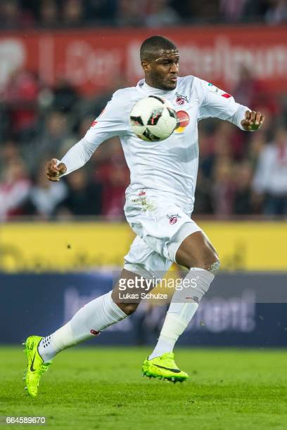 Anthony Modeste of Koeln in action during the Bundesliga match between 1 FC Koeln and Eintracht Frankfurt at RheinEnergieStadion on April 4 2017 in...