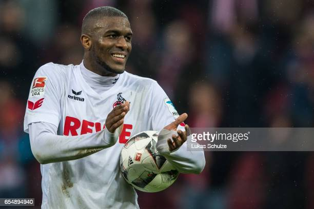 Anthony Modeste of Koeln reacts after winning the Bundesliga match between 1 FC Koeln and Hertha BSC at RheinEnergieStadion on March 18 2017 in...