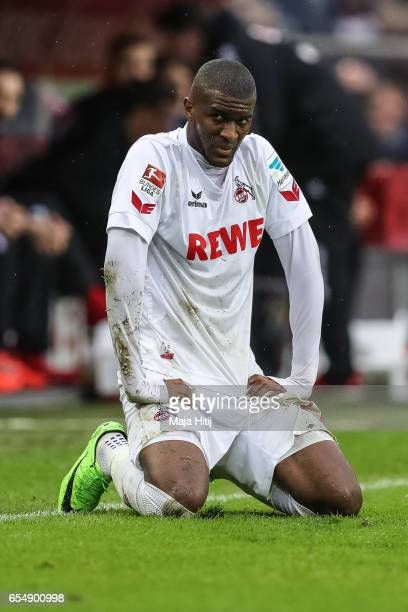 Anthony Modeste of Koeln reacts during the Bundesliga match between 1 FC Koeln and Hertha BSC at RheinEnergieStadion on March 18 2017 in Cologne...