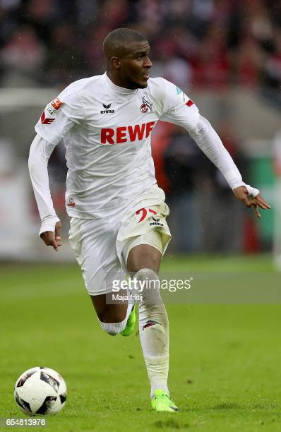Anthony Modeste of Koeln runs with the ball during the Bundesliga match between 1 FC Koeln and Hertha BSC at RheinEnergieStadion on March 18 2017 in...