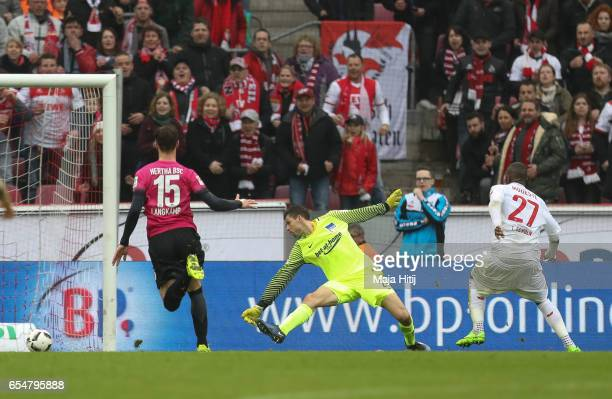 Anthony Modeste of Koeln scores his team's third goal to make it 30 during the Bundesliga match between 1 FC Koeln and Hertha BSC at...