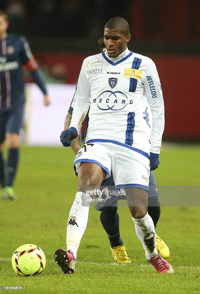 Anthony Modeste of SC Bastia in action during the French Ligue 1 match between Paris Saint Germain FC and Sporting Club de Bastia at the Parc des Princes stadium on February 8, 2013 in Paris, France.