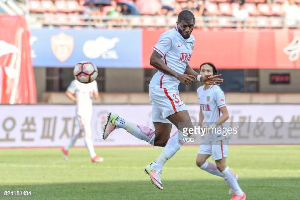 Anthony Modeste of Tianjin Quanjian reacts during the 19th round match of 2017 Chinese Football Association Super League between Yanbian Fude and...