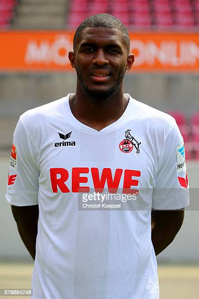 Anthony Modeste poses during the team presentation of 1 FC Koeln at RheinEnergieStadion on July 18 2016 in Cologne Germany