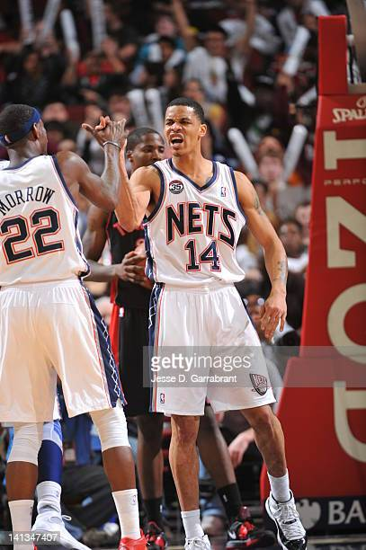 Anthony Morrow and Gerald Green of the New Jersey Nets celebrate against the Toronto Raptors on March 14 2012 at the Prudential Center in Newark New...