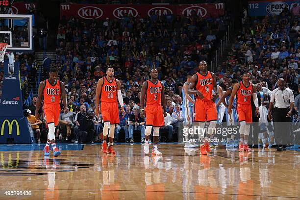 Anthony Morrow Andre Roberson Dion Waiters Serge Ibaka and Russell Westbrook of the Oklahoma City Thunder during the game against the Denver Nuggets...