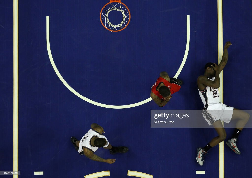 <a gi-track='captionPersonalityLinkClicked' href=/galleries/search?phrase=Anthony+Morrow&family=editorial&specificpeople=814354 ng-click='$event.stopPropagation()'>Anthony Morrow</a> #22 lies on the court after a heavy fall during the NBA match between New Jersey Nets and the Toronto Raptors at the O2 Arena on March 4, 2011 in London, England.